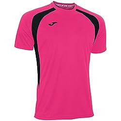 Joma 100014.031 - Camiseta de equipación de manga corta para hombre, color rosa flúor / negro, talla S