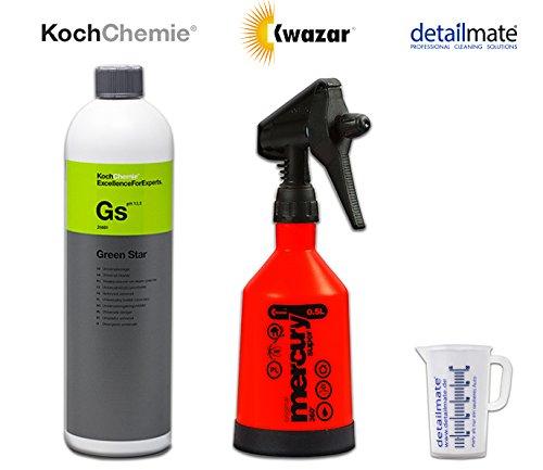 Koch Chemie Green Star Universalreiniger 1 Liter plus Kwazar Sprühflasche 360 Grad 0,5 Liter mit Viton Dichtung geeignet für Koch Chemie Green Star