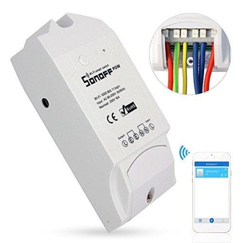 Sonoff Pow Drahtlose WiFi Schalter ON/Off 16A Mit Echtzeit Stromverbrauch Messung Haushaltsgerät IOS Android fernbedienung (Funktioniert mit Amazon Alexa [Echo, Echo Dot]