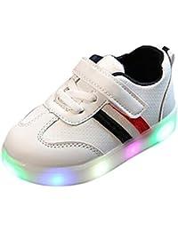 (Presente:peque?a toalla)Blanco EU 25, baile zapatillas del LED resplandor Botas parpadeante JUNGLEST? Unisex Zapatos luz luminoso de de moda recargable