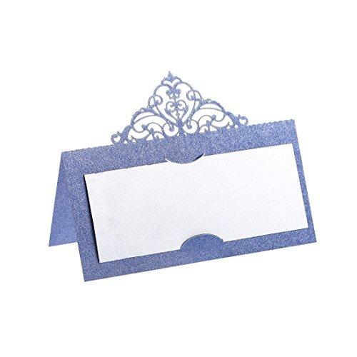 schnittene Tisch- bzw. Namenskarten für Hochzeit, Geburtstag, Party 60pcs blue ()