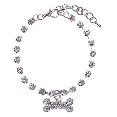PUERI Alloy Dog Necklace Collar Crystal Diamante Bone Rhinestone Pendant Pet Necklace Collar Dog Jewelry Collar(Blue)