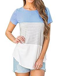 FAMILIZO Camisetas Mujer Manga Corta Rayas Camisetas Mujer Tallas Grandes Camisetas Mujer Verano Blusa Mujer Sport Tops Mujer Verano