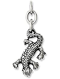 Stainless Steel Polished Antiqued Gecko Interchangeable Charm Pendant