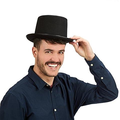 Relaxdays Chapeau cylindre haut de forme noir HxlxP: 14 x 25 x 30 cm déguisement costume magie taille unique,