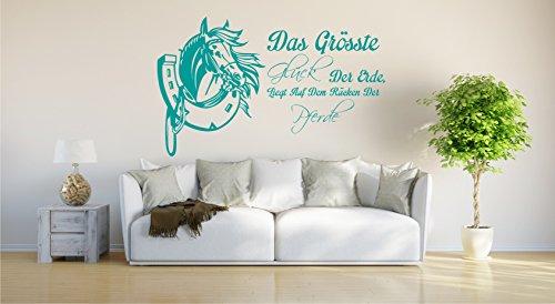 INDIGOS UG - Wandtattoo Wandsticker Wandaufkleber Aufkleber - Wandaufkleber Das größte Glück der Erde liegt auf dem Rücken der Pferde - 81cm x 60cm türkis E934