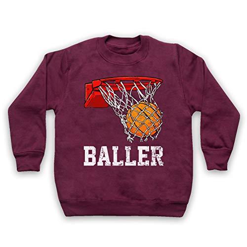 My Icon Art & Clothing Basketball Baller Kids Sweatshirt, Burgund, 3-4 Jahren