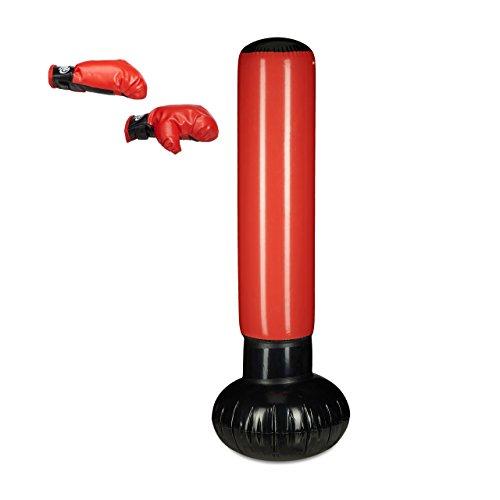 ck Anti-Frust, freistehender Boxsack zum Aufblasen, Boxstand für Kinder, 160 cm hoch, schwarz/rot (Aufblasbarer Boxsack Für Erwachsene)