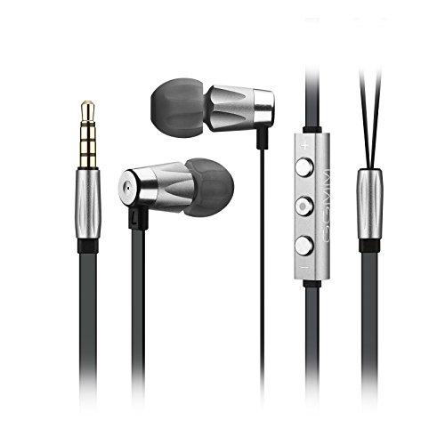 [Apple MFI zertifiziert] GGMM In-Ear Kopfhörer Alauda Sport kopfhörer, hervorragende Höhen & Mitten leichtgewichtiges Vollmetallgehäuse mit 3,5 mm-Stecker, 1,2m Flachkabel Lautstärke Regelung und Mic für handfreies Telefonieren für alle IOS-Geräte, iPhone, iPad und iPod (Grau für iOS Geräte)
