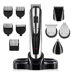 Barttrimmer Bartschneider, Professionelles Haarschneider Set für Männer und Familien, Verstellbarer Präzisionsschneider für Nasenohr Gesichtshaar, Wiederaufladbarer USB Anschluss (8 in 1)