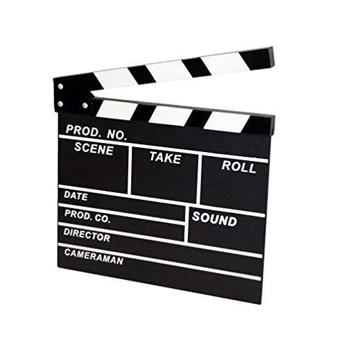 Invero® Regieklappe, Filmregisseur, TV-, Filmrequisite, Kreidetafel,für viel Spaß, als Geschenk oder zur persönliche Verwendung (20x 20cm)