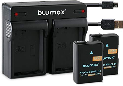 Blumax 2X Gold Akku 1100mAh ersetzt Nikon EN-EL14a + Mini Dual-Ladegerät USB kompatibel mit Nikon D3100 D3200 D3300 D3400 D5100 D5200 D5300 D5500 Coolpix P7800 P7700 P7100 P7000
