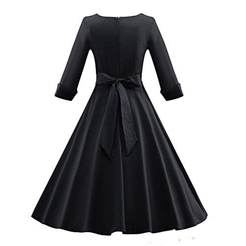 iLover Frauen Vintage 1950er halbe Hülsen Weinlese Großes Hem Rockabilly Swing Kleid - 3