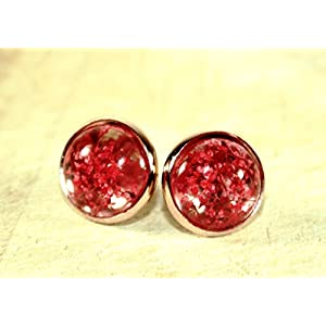 Kleine Echtblüten Ohrstecker rot-roségoldfarben, 12mm, Handmade, ein süßes kleines Geschenk für die beste Freundin...