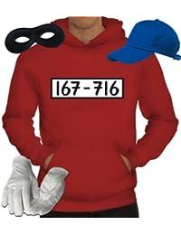 Kostüm für Panzerknacker Fans Fasching Karneval Herren Hoodie+Cap+Handschuhe+Maske