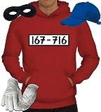 Gangster Kapuzenpullover Kostüm Set für Panzerknacker Fans JGA Karneval Fasching Herren Hoodie+Cap+Handschuhe+Maske, Größe: L,Rot
