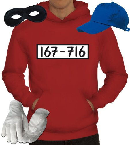 Gangster Kapuzenpullover Kostüm Set für Panzerknacker Fans JGA Karneval Fasching Herren Hoodie+Cap+Handschuhe+Maske, Größe: - Gangster Kostüme