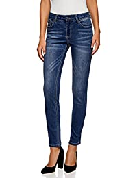 Damen Hüft Jeans Hose Röhrenjeans Flicken /& Nieten Destroyed Look hellblau XS-XL
