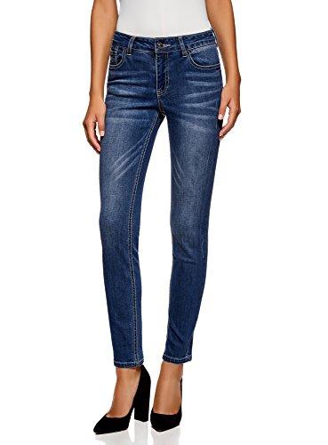 oodji Ultra Damen Jeans mit Regulärem Bund und Nieten, Blau, 27W/32L (DE 36/EU 38/S)