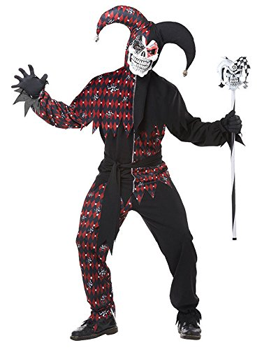 Böser Clown Harlekin Halloween-Kostüm schwarz-rot XL