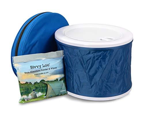 Bivvy Loo Blau + Deckel - Tragbare Camping WC -Campingtoilette - Festival WC - Angeln Toilette - Outdoor Camping WC - Falten weg Wohnung - Unterstützt über 150kg - Camping Toilette - Portable Toilette