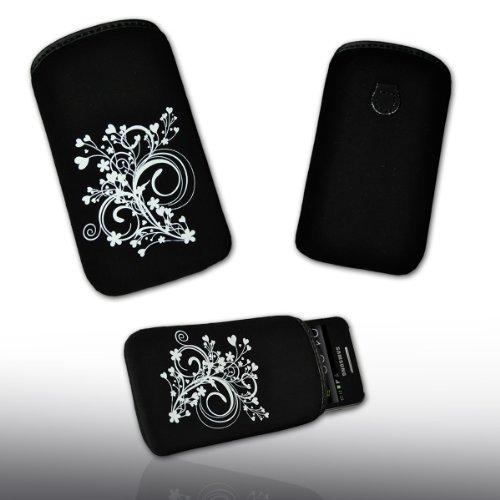 Handy Tasche schwarz/weiß Blume3-2 für HTC Incredible S / ChaCha / Radar / Salsa / Desire S / Desire / Desire Z / Gratia / HTC 7 Mozart / Trophy / HD Mini / Rhyme / Explorer / HTC 7 Pro