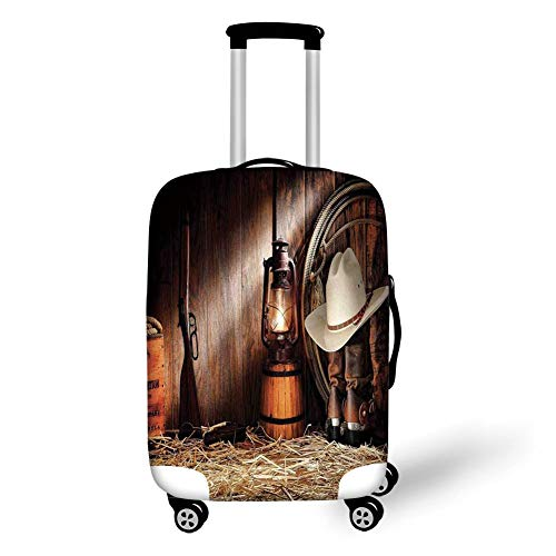 Travel Luggage Cover Suitcase Protector,Western,Cowboy Gear White Hat Boots Rifle Gun Vintage Barn Kerosene Oil Lantern,Dark Brown and Beige,for Travel S - Western Cover