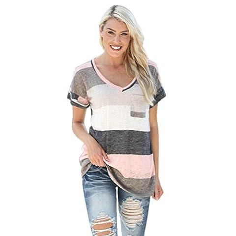 Damen Bluse Internet Sommer Lose StripeTop Kurzarm Bluse (M, grau)