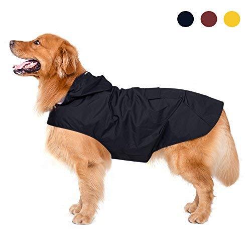 Impermeable para perros con capucha y collar Agujero y tiras reflectoras seguras,...