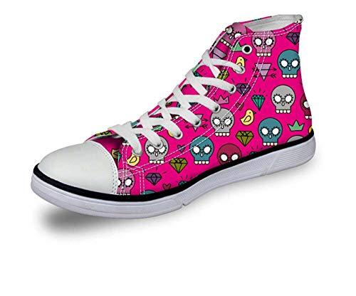Casual Womens Mens Canvas Shoes Sapatos Tenis Masculino Autumn Winter Skull Flat Pink CA4734AK. Women's US 5 = EUR 35