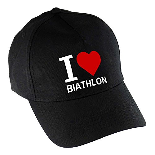 Baseballcap Classic I Love Biathlon schwarz