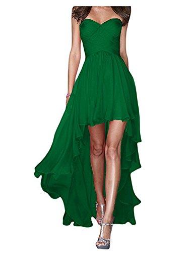 JAEDEN Senza spalline Lungo Abiti da ballo Hi-Lo Chiffon Vestito da festa Abiti da damigella Verde