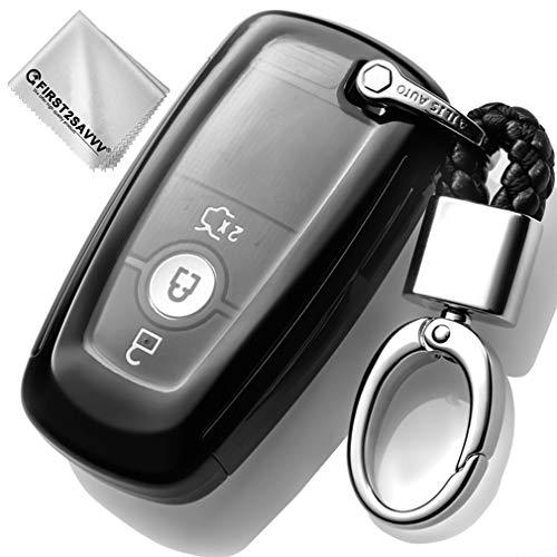 Key Protection Shell Auto Schlüssel Hülle Key Cover Case Etui Silikon mit Schlüsselanhänger Für 2017 2018 Ford Mustang Explorer Edge Fusion Mondeo F150 F250 F350 F450 F550 3 4 5 Buttons Schwarz (Ford Schlüsselanhänger Edge)