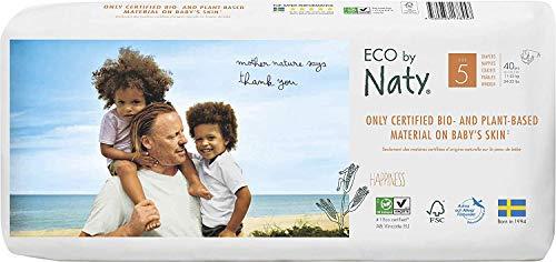 Eco by Naty - Pannolini usa e getta per pelli sensibili, taglia 5, confezione da 40 pezzi