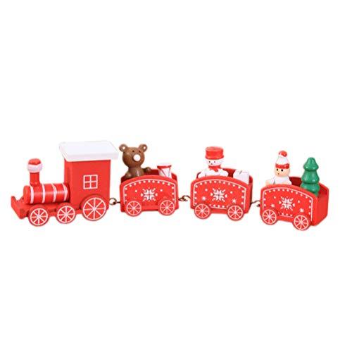 Bestoyard trenino in legno natale con babbo natale pupazzo di neve orso natale decorazioni albero di natale legno (fiocco di neve,rosso)