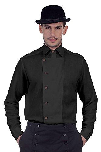 ThePirateDressing Steampunk Vittoriano Gotico Punk vampiro Lino shirt Costume C1293[Nero] Black Large