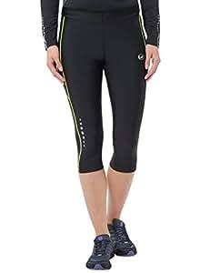 Ultrasport Damen Laufhose 3/4 Kompressionswirkung und Quick-Dry-Funktion, Schwarz/Neon Gelb, XS, 11060