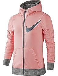 Nike G Nsw Hoodie Fz Gfx Sudadera, Niñas, Rosa (Bright Melon / Dk Grey Heather), XL