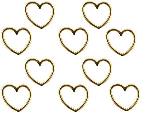 Sadingo Schmuckverbinder Herz Gold, Anhänger Herz für Armbänder, DIY Schmuck, Großpackung Großhandel, 10 Stück, 15x16 mm