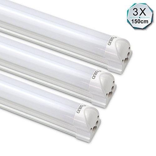 4500 Abdeckung (3er OUBO® 150CM LED Leuchtstofflampe mit Fassung Lichtleiste T8 Röhre 23W Tube Leuchtstoffröhre Neutralweiß (4000-4500K) Unterbauleuchte montagefertig mit Milchiger Deck, inkl. Zubehör)