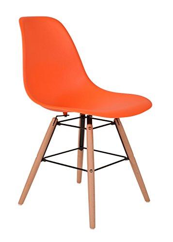 ts-ideen-Design-Chaise-classique-Retro-50s-Tabouret-Chaise-de-Cuisine-Salle--Manger-Sige-Orange-Bois