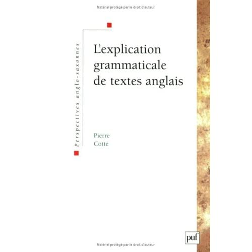L'Explication grammaticale de textes anglais