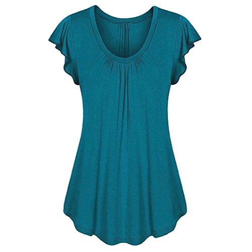 ESAILQ Damen Kurzarm Bluse Schulterfrei Batwing Weit Rundhals Carmen Oberteil Tops T-Shirt Sommerbluse(XXXL,Dunkelblau)