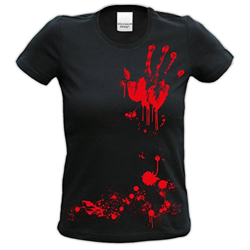 Fun-T-Shirt Frauen Damen Aufdruck Blutige Hand zur Halloween-Party, -