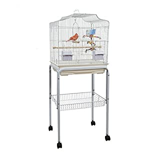 BABY PABLO BIRD CAGE WITH TABLE STAND SMALL BIRDS WHITE 41chPY6FYYL