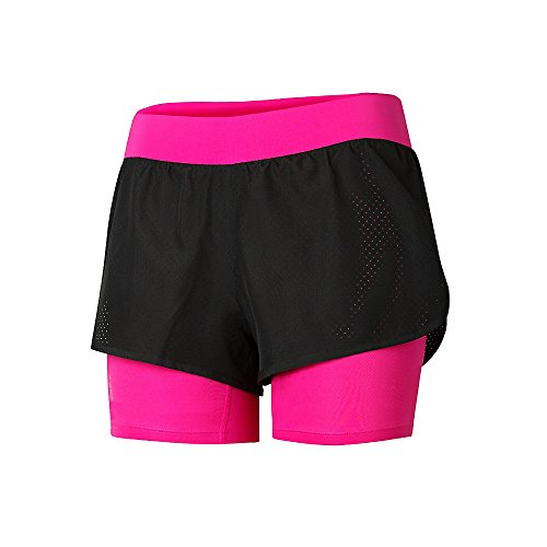 Champion Gear Women`s New Two-In-One Shorts Black/Pinksicle
