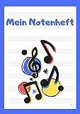 Notenheft für Kinder A4: Mein Notenheft für Kinder und Anfänger Din A4, 110 Seiten, 8 Notensysteme pro Seite, große Lineatur