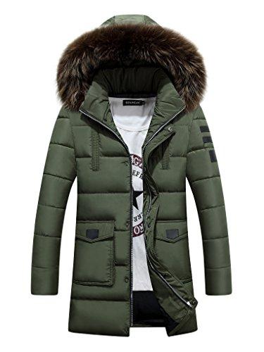 Woorlich da Uomo Classico con Cappuccio Pesante Cappotto Imbottita Giacca a Vento Impermeabile Inverno ( Verde )