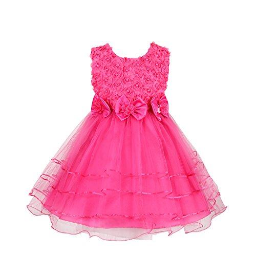 Discoball Mädchen Rose Blumen Kleid Rosarot 4-5 Jahre