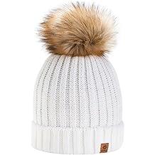64cfe60d5d6c0 4sold Gorro de invierno de forro polar para mujer con cristales y pompón  multicolor